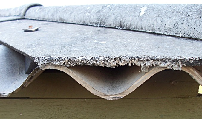 asbestos roof tile that has become degraded to release the fibers